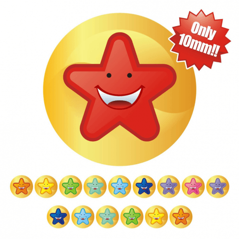 10mm Mini Multi Smiley Star Stickers