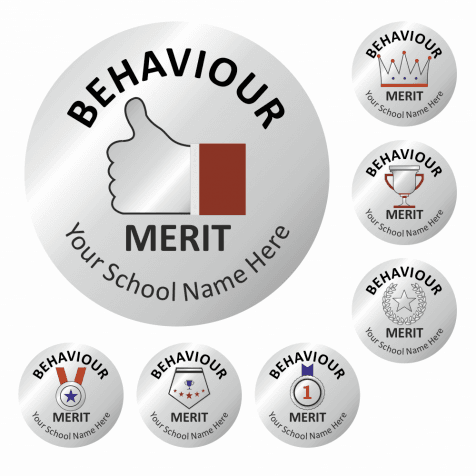 Metallic Silver Behaviour Stickers