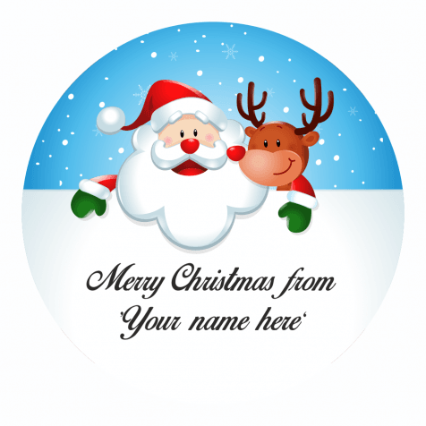Christmas Labels.Santa And Rudolph Personalised Christmas Labels