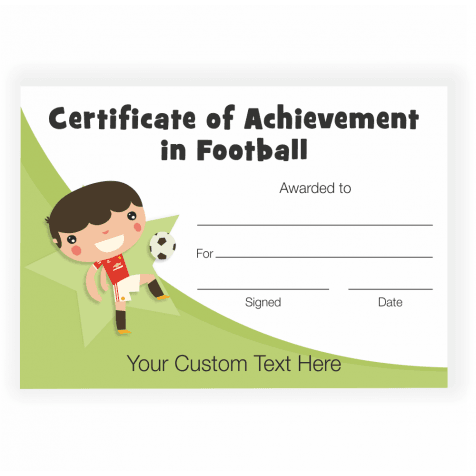Character Football Achievement Certificate