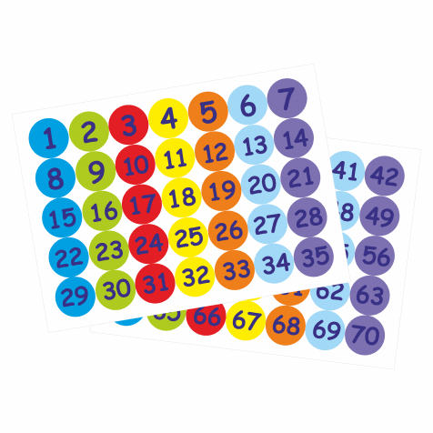 25mm Numbers 1-70 Stickers