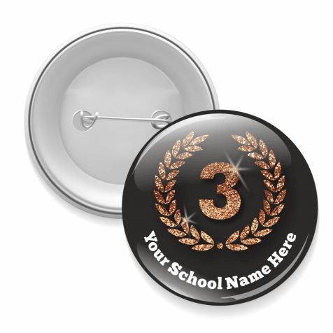 Third Place Black and Glitter Button Badges