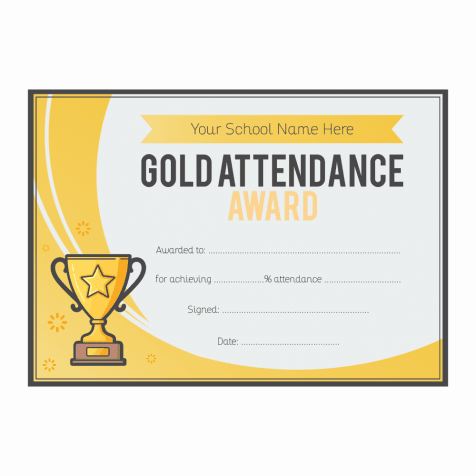 Gold Attendance Trophy Certificates - A5
