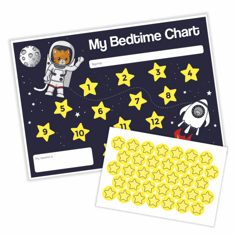 Space Cats Bedtime Chart & Stickers