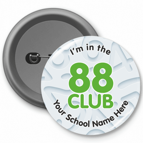 88 Club Times Table Button Badges