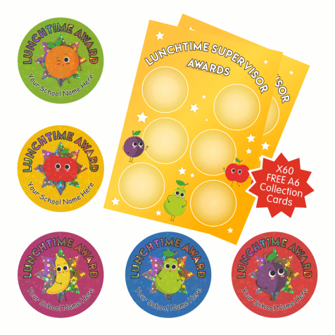 Sparkly Collectable Lunchtime Stickers with 60 FREE A6 Charts