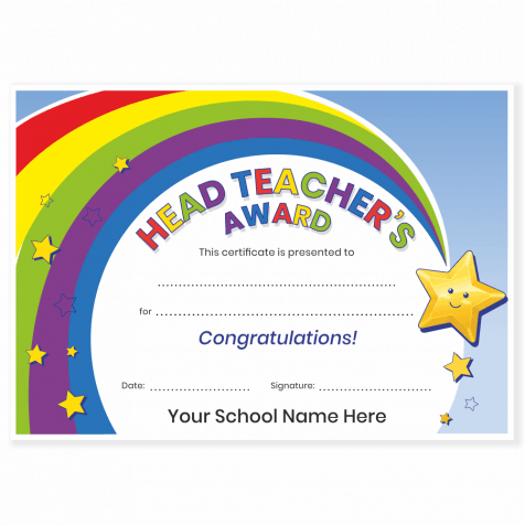 Head Teacher's Award Rainbow Certificates