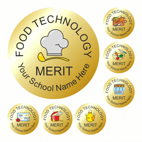 Food Technology Metallic Gold Reward Stickers