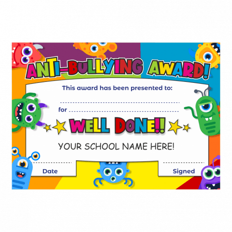 Anti-Bullying Award Monster Certificate