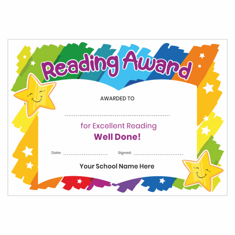 Rainbow Reading Award Certificates