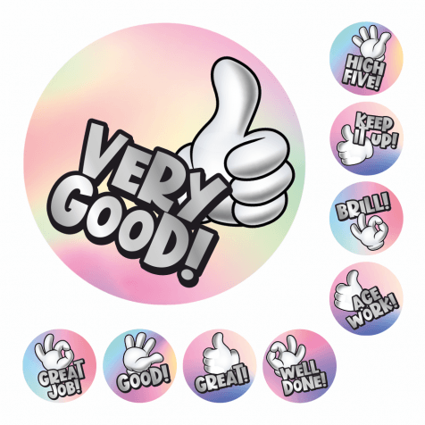 Metallic Silver Mini Gesture Stickers
