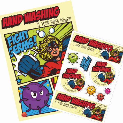 Hand Washing Super Hero Poster & Sticker Pack