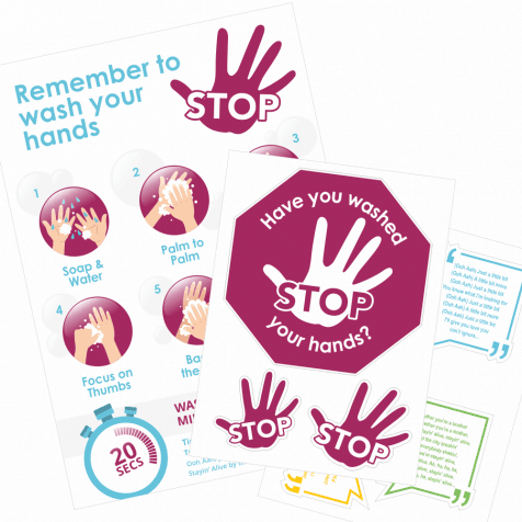 STOP Hand Washing Poster & Sticker Pack