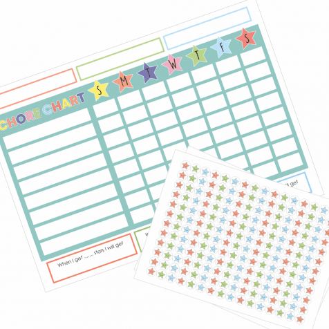 Personalised Chore Star Chart & Stickers