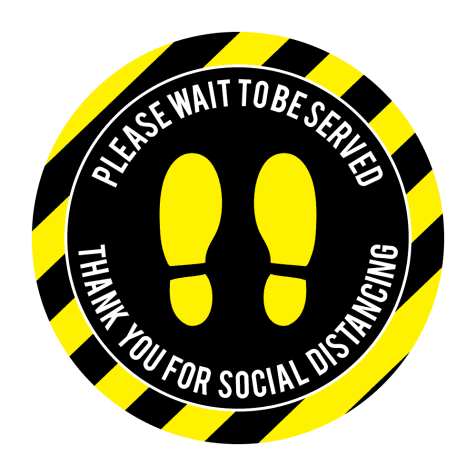 Please Wait to be Served Yellow & Black Floor Stickers