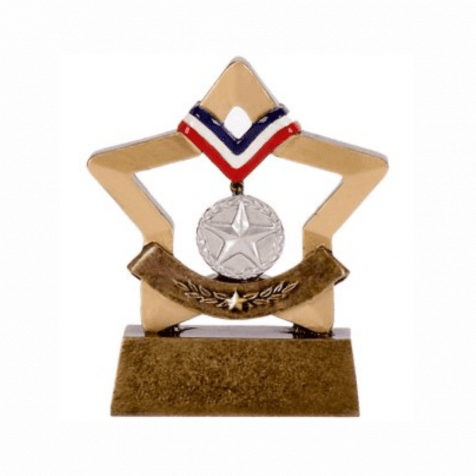 Silver Sports Medal Mini Star Trophy