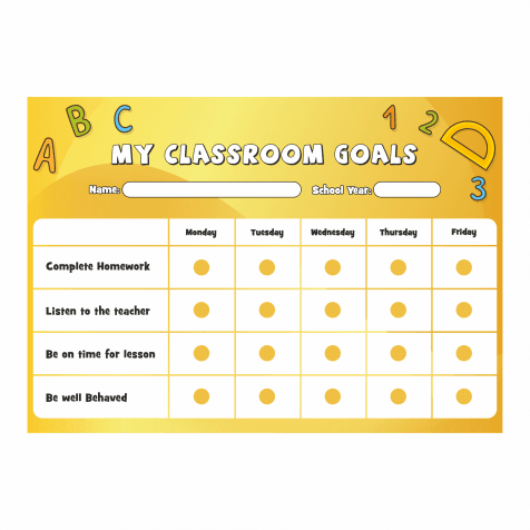 Classroom Goals A4 Reward Chart with Stickers