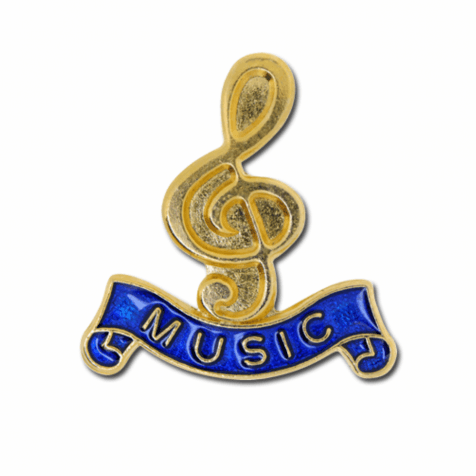 Gold / Blue Lapel Badge - Music Clef