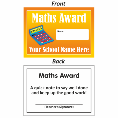Maths Mini Award Slip Design 2