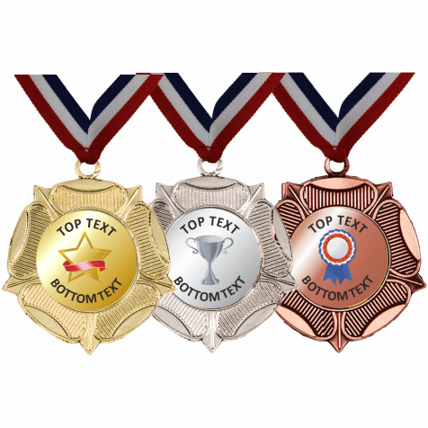 Mixed Medals & Ribbons - Gold, Silver, Bronze Designs