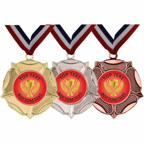 Mixed Medals & Ribbons - Red Gold Cup Designs
