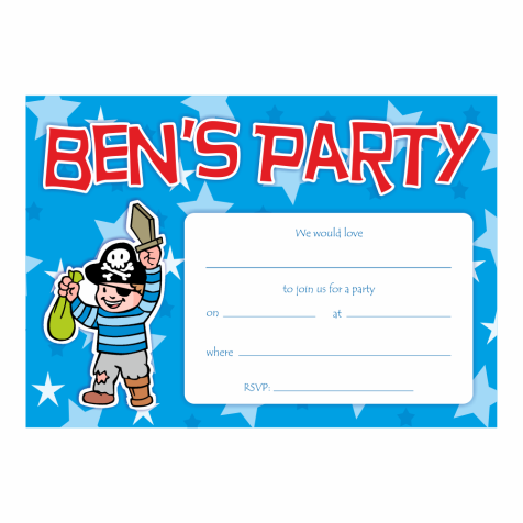 Personalized Pirate Party Invitations