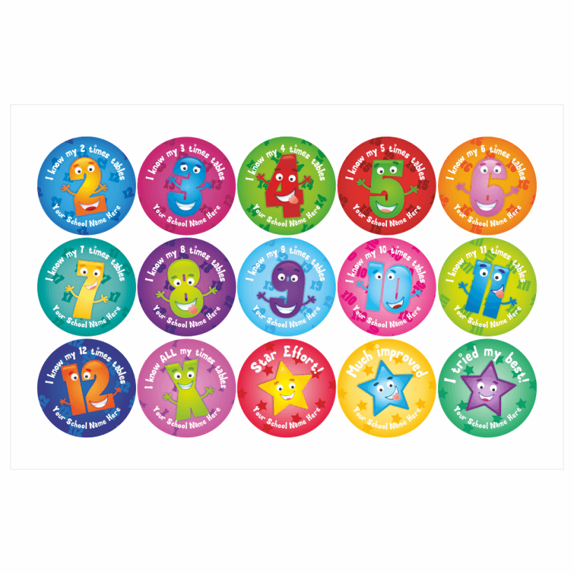 Times Table Stickers  School Stickers for Teachers -> Sticker Table