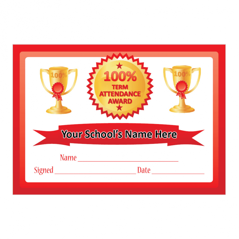 Pics Photos - Certificate Of 100 Attendance Award With Scholastic ...