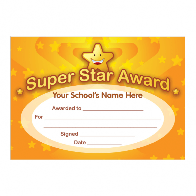 Super Star Award Certificates Stickers For Teachers