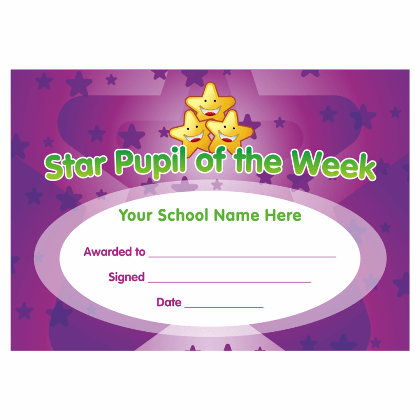 star pupil of the week certificates for teachers