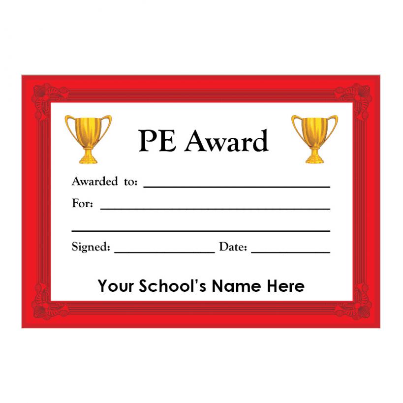 PE Certificate Set 3 | School Stickers for Teachers