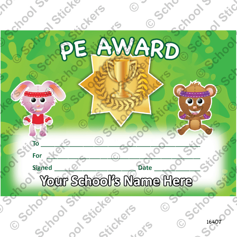pe certificate  PE Primary Certificate Set 2 | Stickers for Teachers
