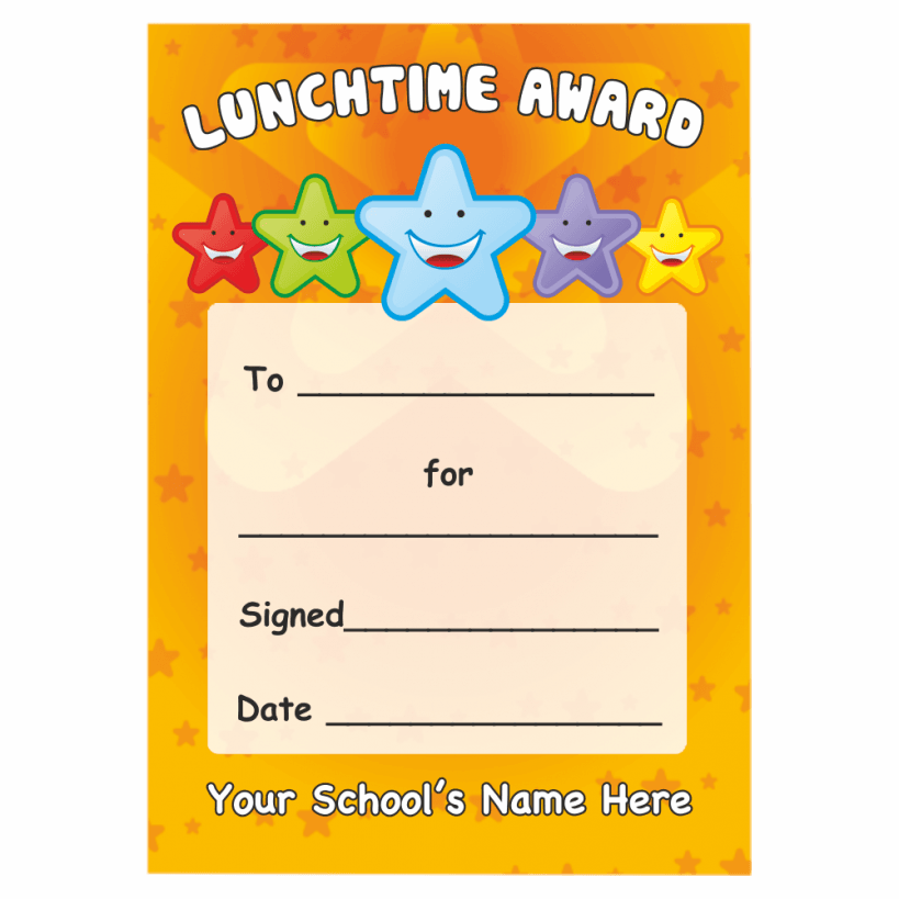 Lunchtime award star certificate