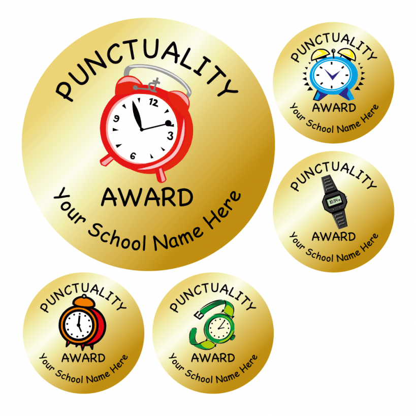 Gold Punctuality Stickers | School - 216.5KB