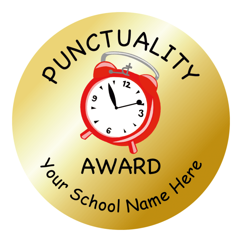 Gold Punctuality Stickers | School - 161.6KB
