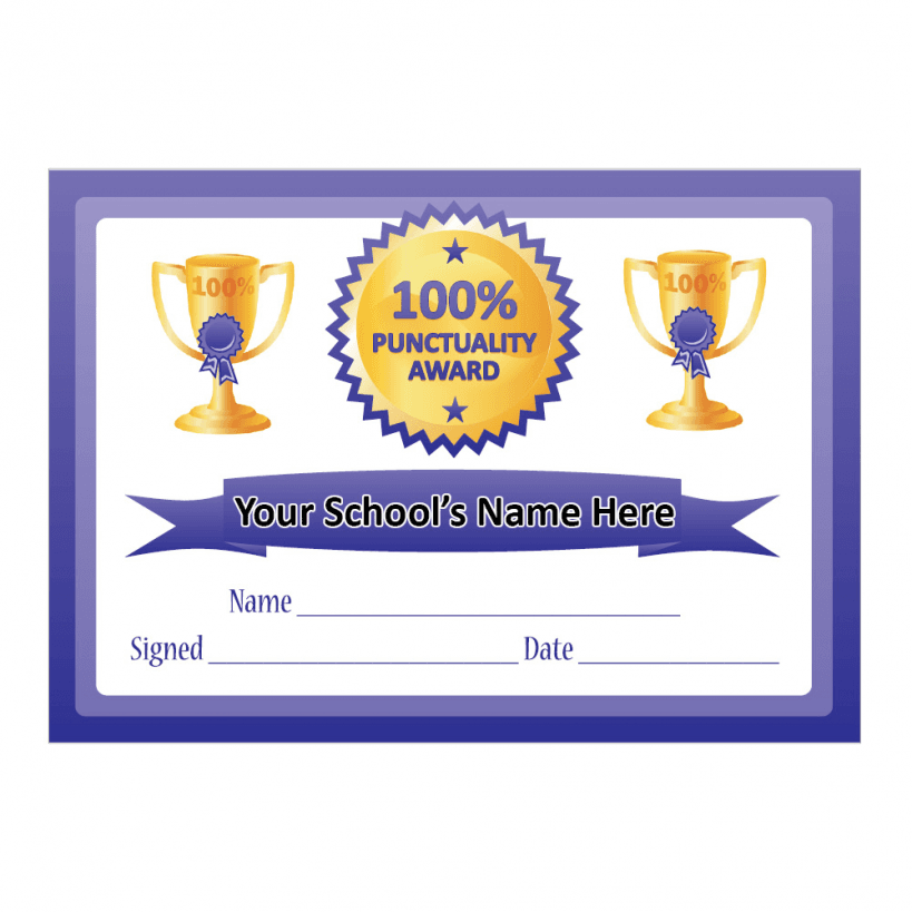 100  Punctuality Certificates  School Stickers