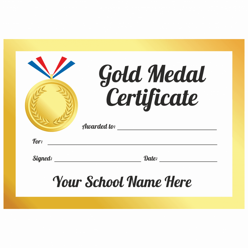 Sports day gold medal certificates school stickers for Sports day certificate templates free