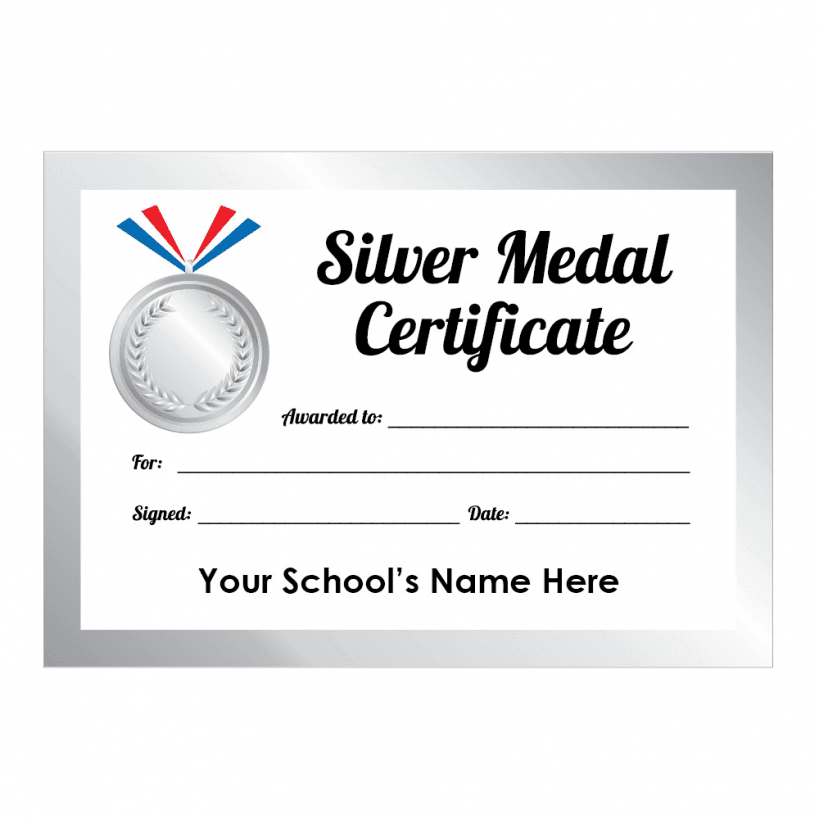 Sports Day Silver Medal Certificates School Stickers
