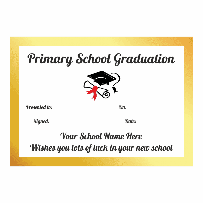 Primary School Graduation Certificates For Leavers