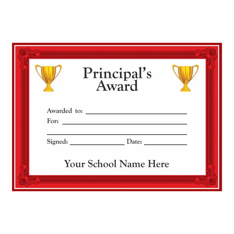 Principal award certificates school stickers for Principal s list award