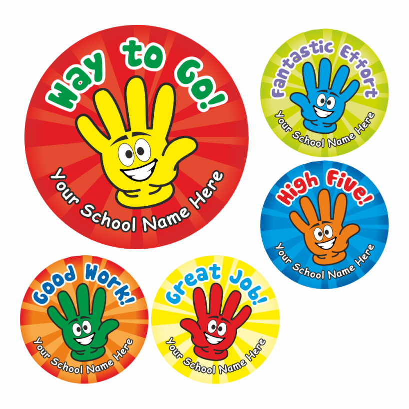 high five stickers school stickers for teachers. Black Bedroom Furniture Sets. Home Design Ideas
