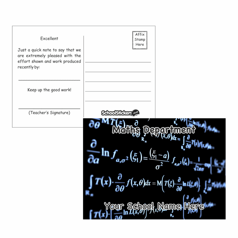 Maths teacher bundle pack stickers postcards stampers