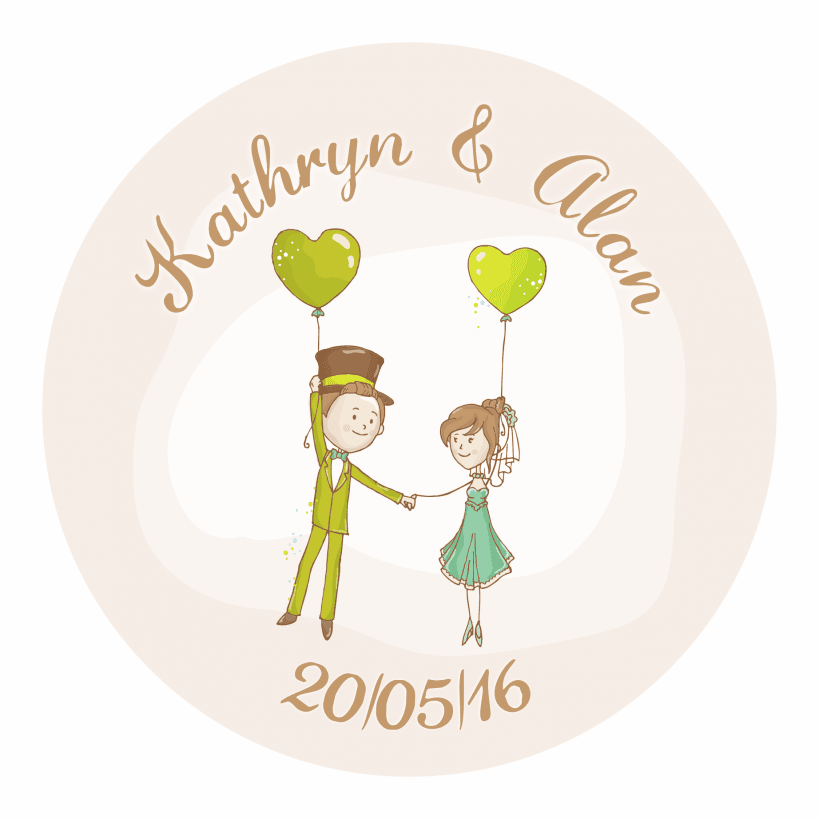 Personalised wedding stickers - Balloons