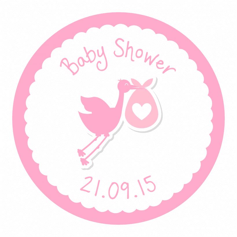 Stork Baby Shower Stickers   Pink