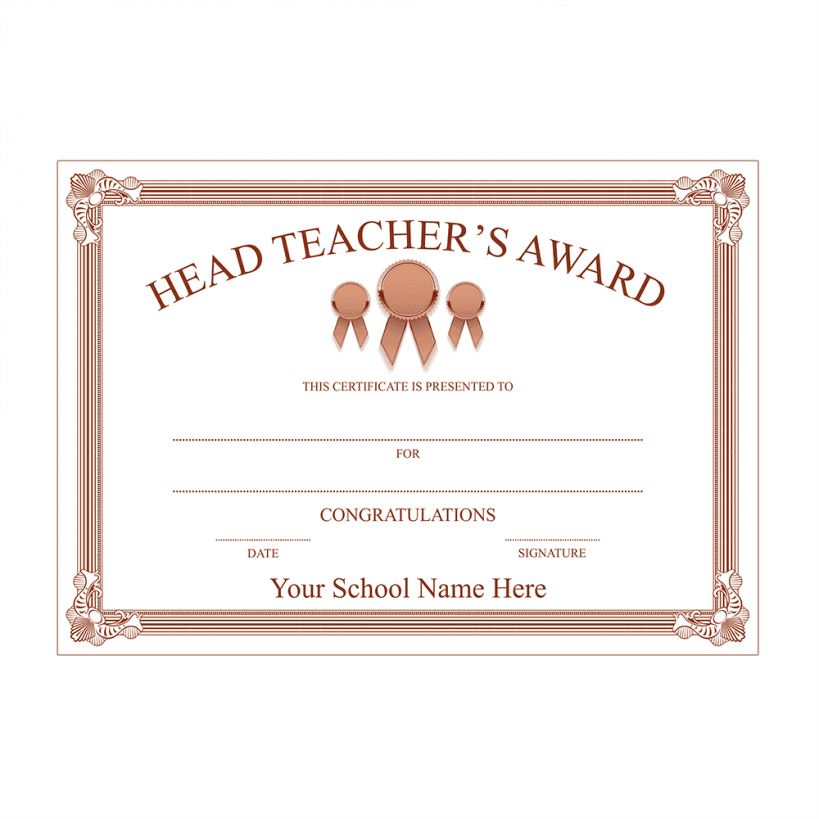 Head Teacher's Bronze Award Certificate