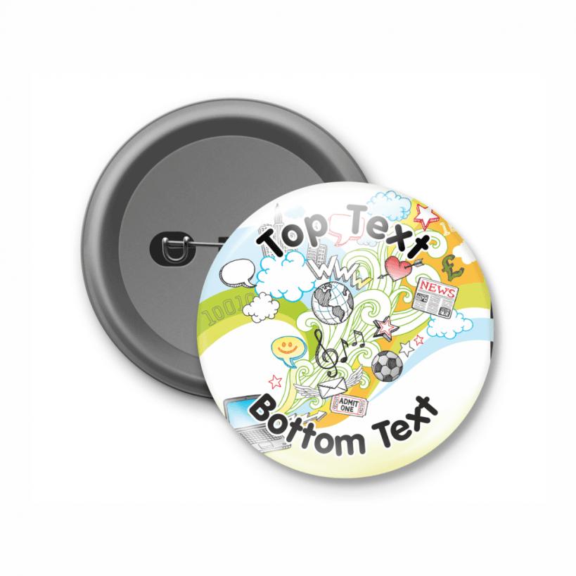 Button Badge Design doodle design fully customisable button badges