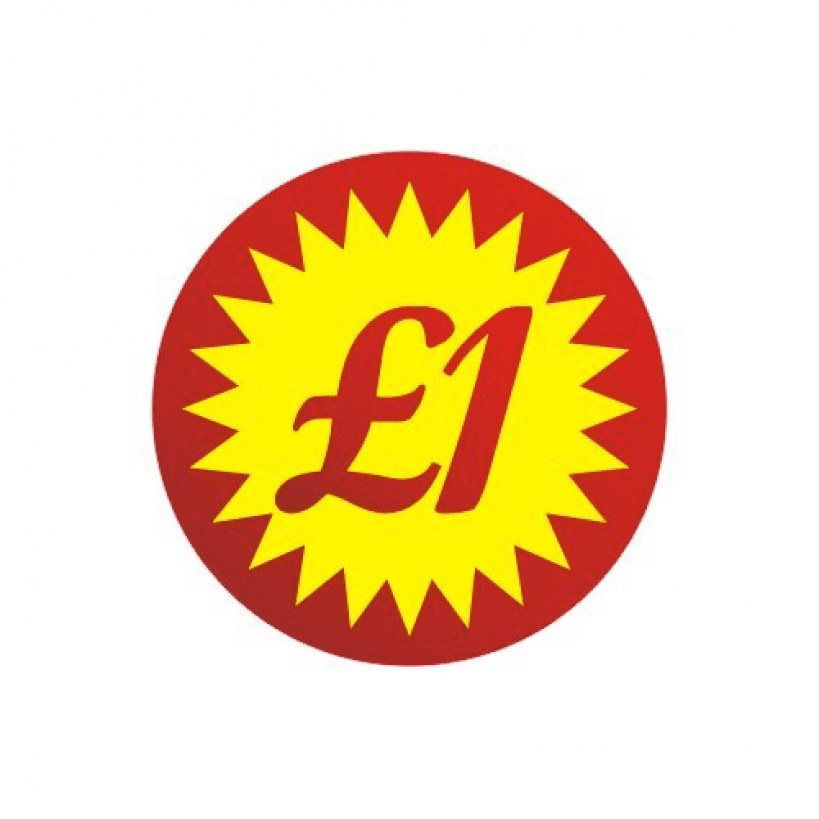 Red price stickers one pound