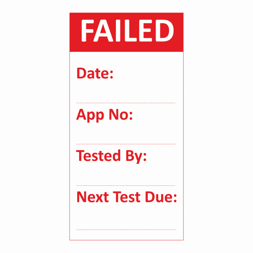 Pat testing failed stickers