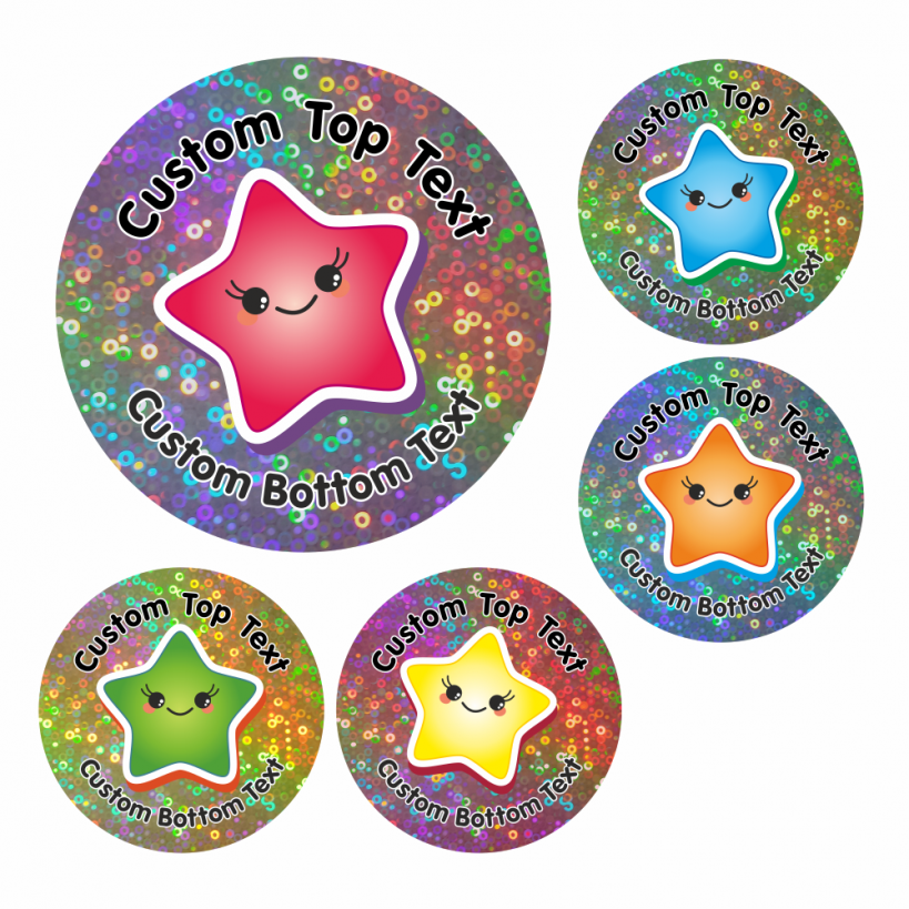 Customisable sparkly star stickers