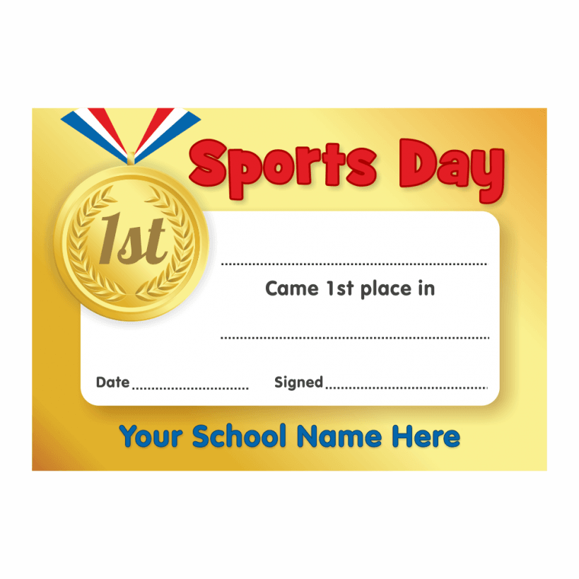 Sports Day Gold 1st Place Certificates | School Stickers